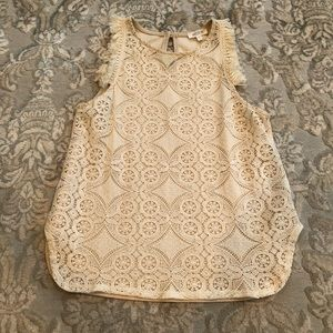 Anthropologie Lace tank top w fringe 😍